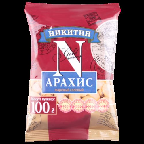 """Арахис  солен. 100гр. """"Никитин"""""""