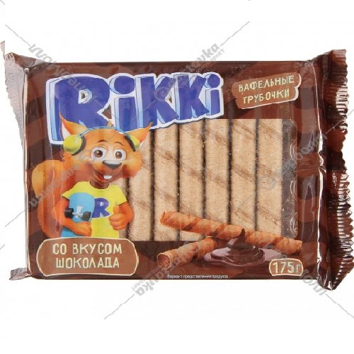 Вафельные трубочки Rikki шоколад 175г