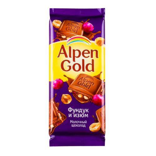 "Шоколад ""Альпен гольд""  фундук/изюм 85 гр"